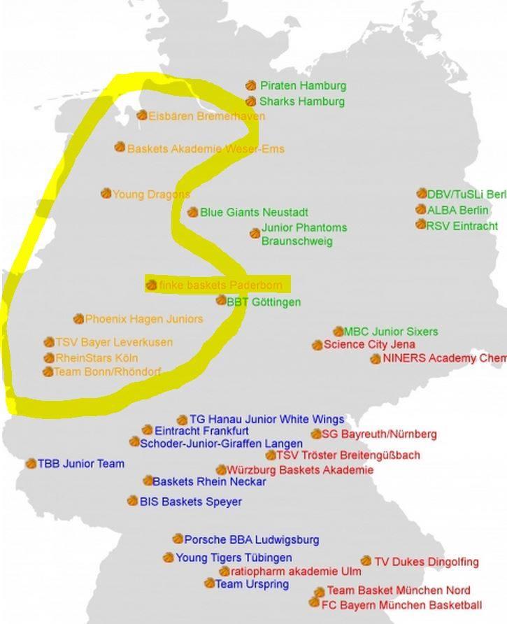 Die Einteilung der NBBL-Divisionen für die Saison 2014/2015
